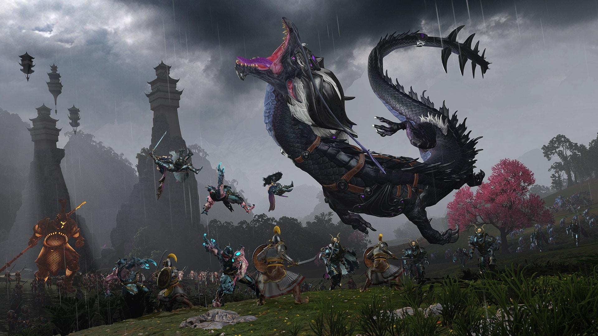 Miao Ying die Sturmdrachin in Drachenform wie sie Chaoskrieger zerfetzt